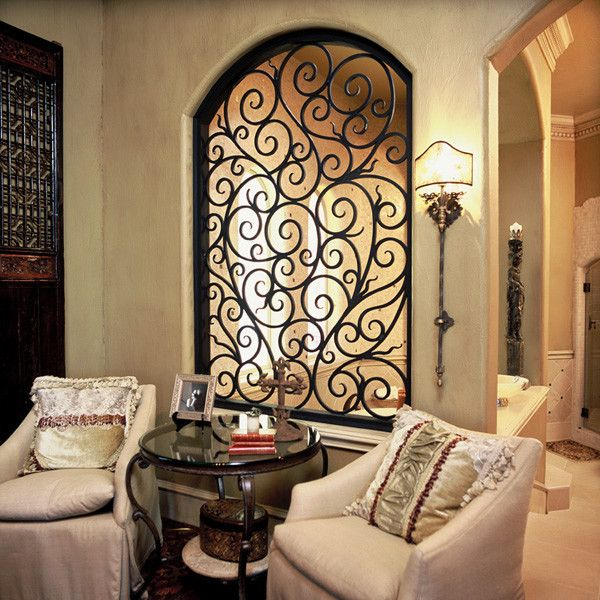 Wrought Iron Room Divider   Mediterranean Living Room  and Partitions Wrought Iron Wrought Iron Partition