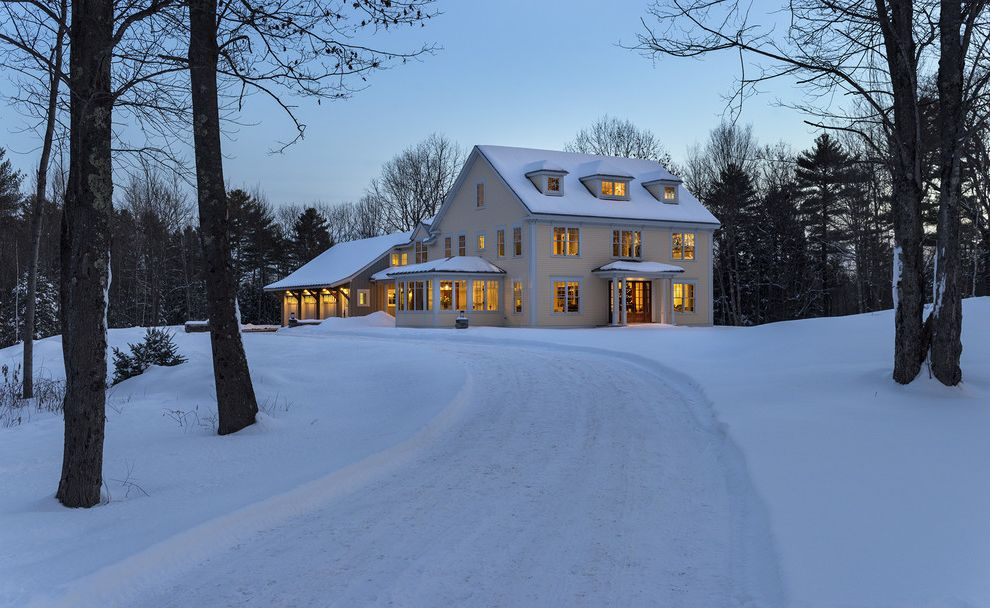 Www Andersenwindows Com   Traditional Exterior  and Cedar Siding Christmas Christmas Tree Dormer Windows Dormers Double Entry Doors Drive Farmhouse Maine New England Rural Windows Wood Siding