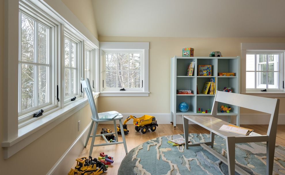 Www Andersenwindows Com with Traditional Kids Also Awning Windows Blue Chair Bookcase Cathedral Ceiling Gray Bench High Baseboard Playroom Round Area Rug White Trim