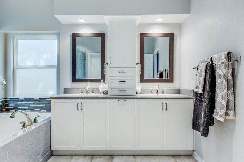 Www Arizonatile Com with Transitional Bathroom Also 3x6 Subway Tile Bath Bathroom Caesatstone Ceramic Tile Glass Tile Gray and White Gray Tile Grey and White Quartz Countertops Shower Subway Tile What Cabinets