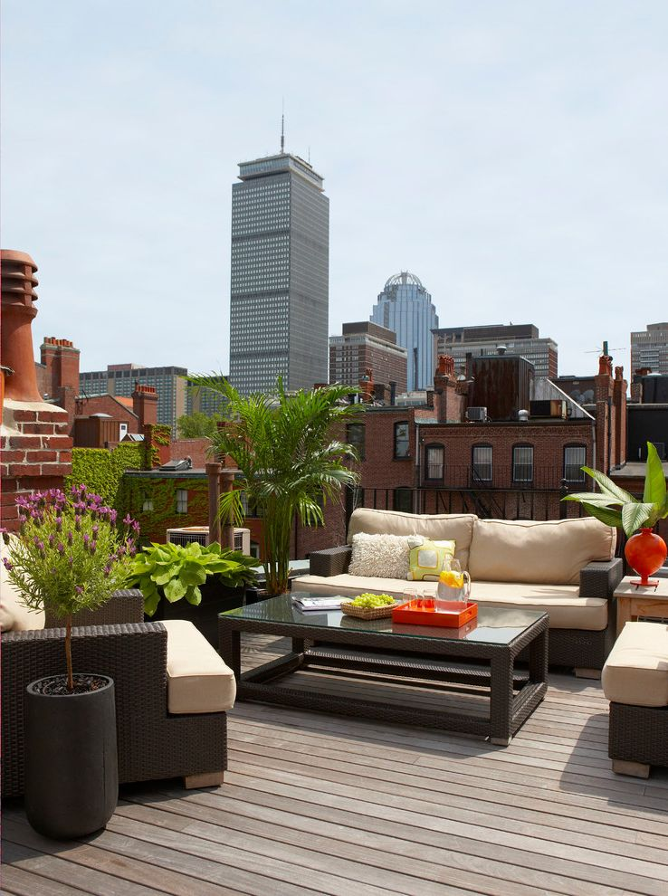 Www Bobs Furniture   Contemporary Deck  and Back Bay Boston City Deck Decking Downtown Garden Historic Ipe Lavender Outdoor Cushions Patio Patio Furniture Potted Plants Roof Roof Deck Sky Skyline Townhouse Urban Wicker Furniture