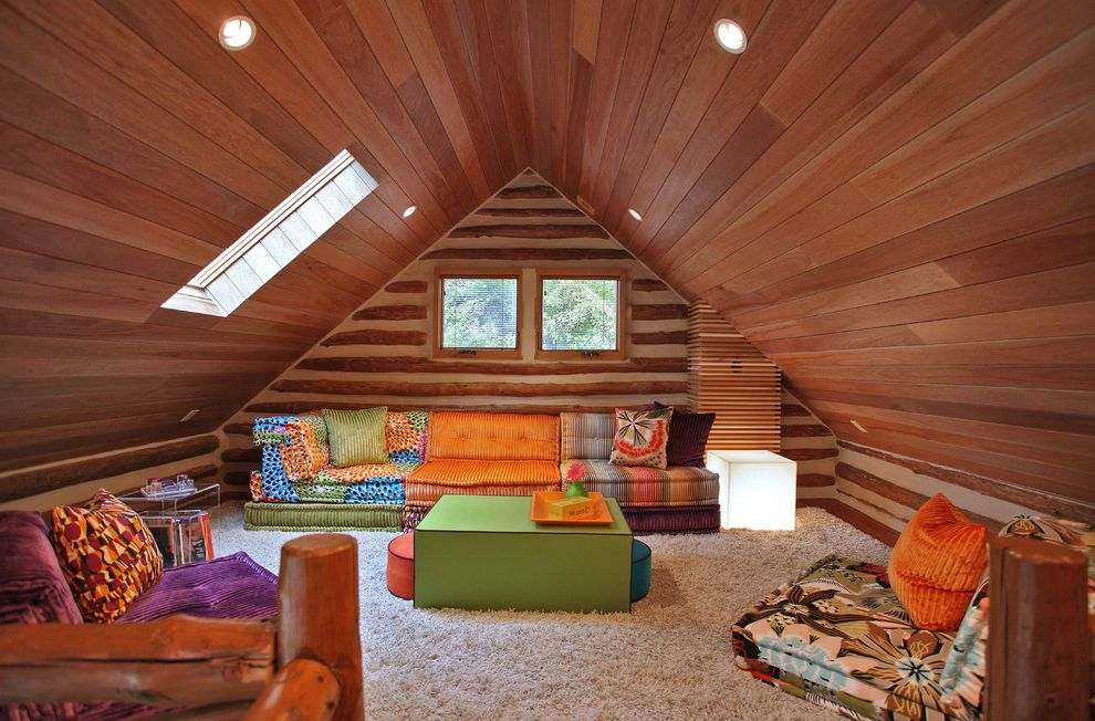 Www Bobs Furniture   Eclectic Family Room Also Bright Colors Chinking Colorful Contemporary Contemporary Artwork Contemporary Rustic Log Cabin Low Couch Modern Skylight