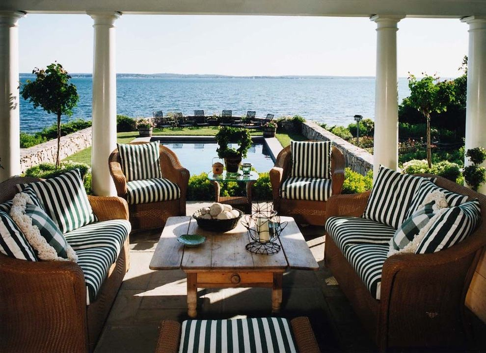Www Bobs Furniture with Beach Style Porch  and Coastal Columns Framed View Outdoor Cushions Patio Furniture Striped Cushions View Waterfront Wicker Furniture