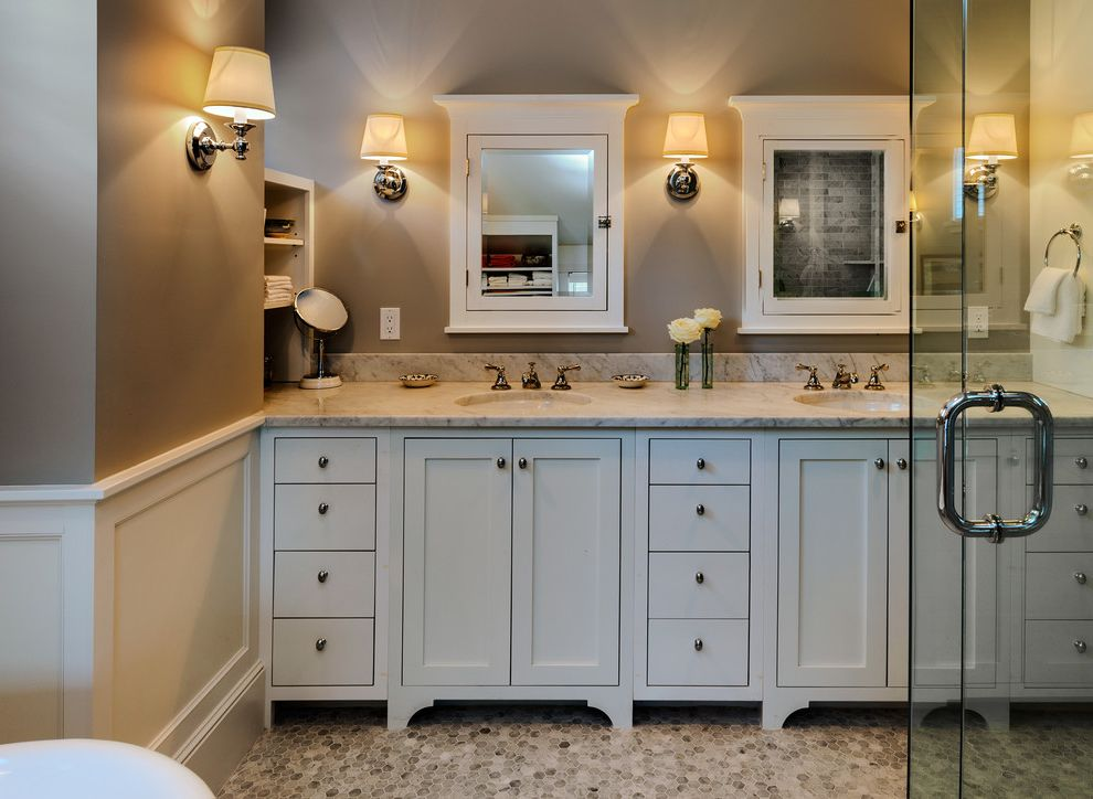 Www.clickerproducts.com   Beach Style Bathroom  and Bath Bathroom Claw Foot Contemporary Cottage Counters Glass Hex Tile Lavatories Maine Marble Master Medicine Cabinet New England Sconces Shelves Shower Sinks Tile Tub Two Sinks Vanity Wainscot Window