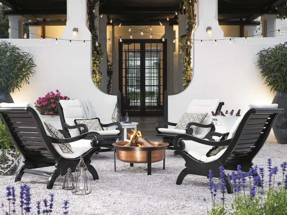 Www.clickerproducts.com with Mediterranean Patio  and Black Armchairs Fire Pit Outdoor Armchairs Outdoor Wall Sconce White Cushions