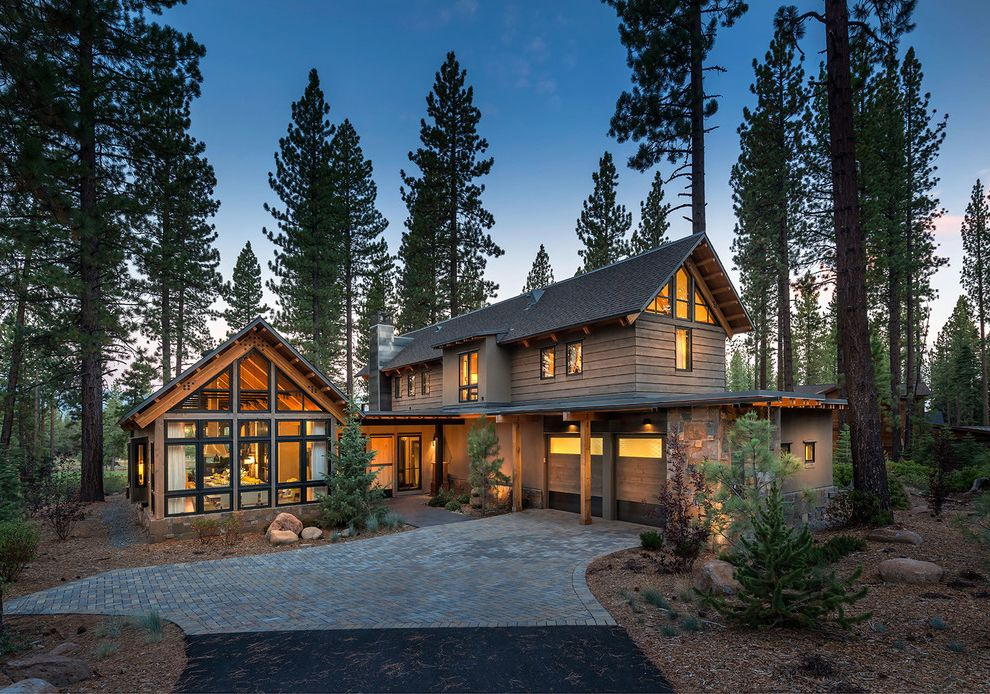 Www Hgtv Dreamhome   Rustic Exterior Also Entry Mountain Home Natural Landscape Paved Driveway Rustic Contemporary Two Car Garage Windows
