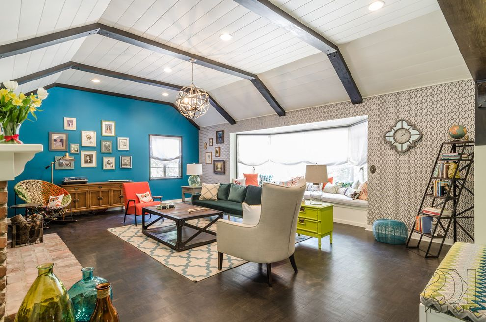 Www Hgtv Dreamhome with Eclectic Living Room Also Blue Wall Brick Fireplace Colorful Rooms Dark Parquet Flooring Eclectic Knit Rocker Lime Green Moroccan Rug Teal Wall Vintage Window Bench Wood Beam Ceiling