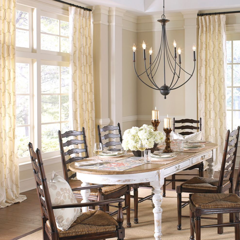 Www.roomrecess.com   Farmhouse Dining Room Also Chandelier Curtain Panels Custom Curtains Drapery Fabric Euro Pleat Place Setting Placemat Placemats Pleated Cutains Table Runner Table Setting Tabletop Window Panels Window Treatment Wood Dining Chairs