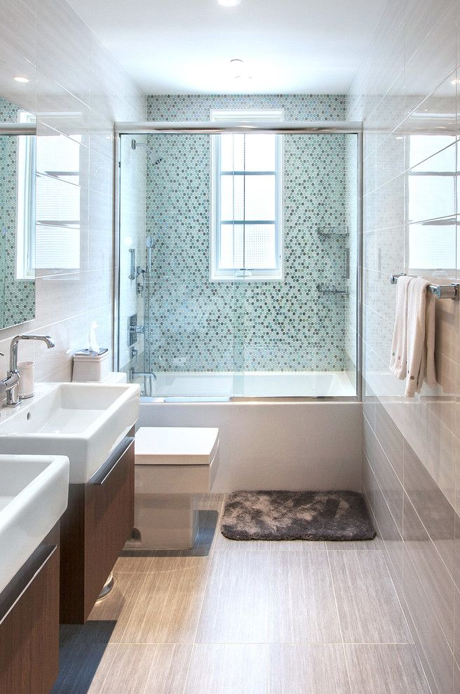 Www.roomrecess.com with Contemporary Bathroom Also Bathroom Blanco Blue Shower Boys Bathroom Deltana Duravit Gray Tile Floor Gray Tile Wall Grohe Hydro Systems Octagon Tile Wall Rohl Small Tub Tub Window Two Sinks Two Vanities Watermark