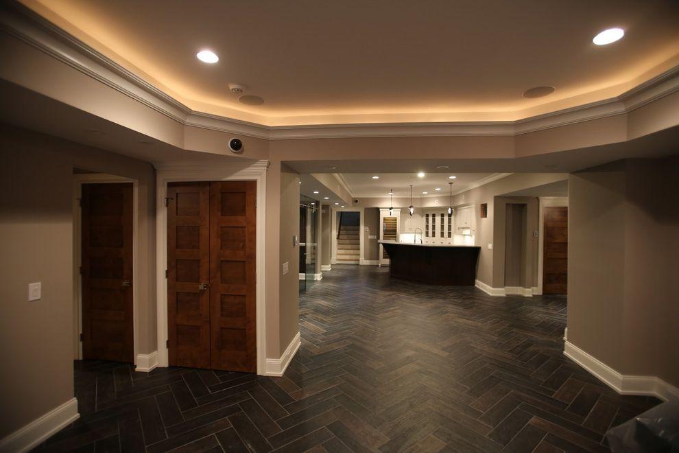 Wyckoff Lighting with Contemporary Basement and Adleer Doors Basement Cove Lighting Porcelain Tile Wood Doors Wood Look Tile