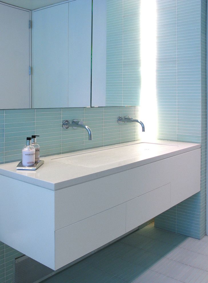 Wyckoff Lighting with Contemporary Bathroom and Bathroom Lighting Bathroom Mirror Bathroom Tile Double Sinks Double Vanity Floating Vanity Floor Tile Shared Bathroom Tile Bathroom Backsplash