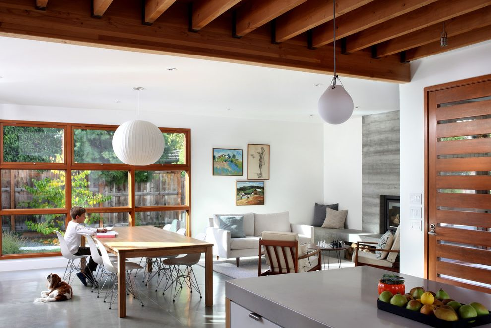 Wyckoff Lighting with Contemporary Family Room and Clean Lines Concrete Floor Contemporary Entry Family Room Fireplace Kitchen Pendant Lights Wood Ceiling Wood Windows