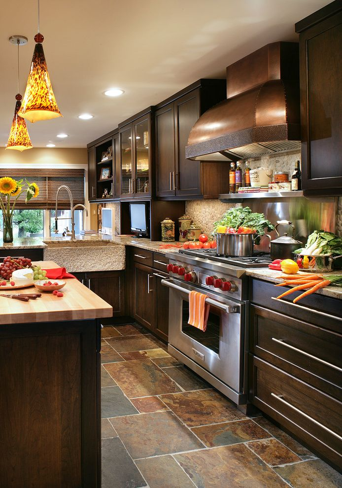 Wyckoff Lighting with Transitional Kitchen and Butcher Block Copper Hood Granite Sink Kitchen Island Pendant Lighting Recessed Lighting