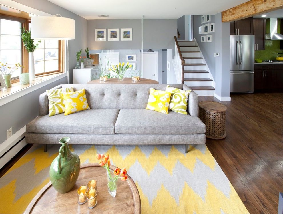 Yellow and Grey Area Rugs with Transitional Living Room  and Accent Color Brunelleschi Cousins on Call Gray Green Grey Grey Sofa Kitchen Cousins Pittsburgh Wall Cladding Wood Beam Wood Floor Yellow