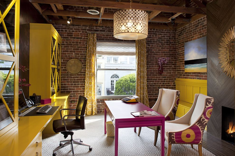 Yellow Brick Pizza   Contemporary Home Office Also Armchair Bench Brick Brick Wall Carpet Color Curtain Desk Fireplace Pink Table Window Treatment Wood Beams Yellow Yellow Bookcase Yellow Bookshelves Yellow Desk