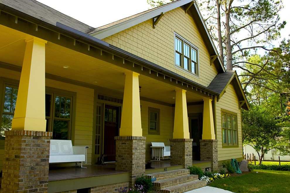 Yellow Brick Pizza with Craftsman Exterior  and Arts and Crafts Brick Craftsman Entrance Entry House Numbers Patio Furniture Porch Roof Brackets Shingle Siding Tapered Column Wood Siding Yellow House