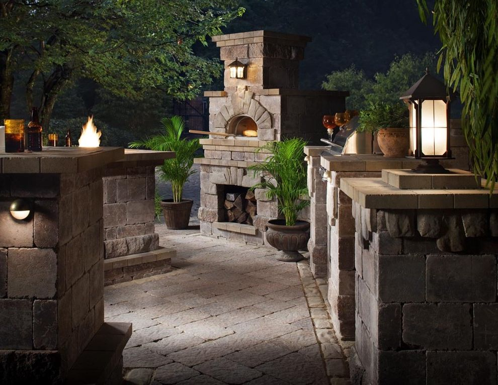 Yellow Brick Pizza with Traditional Patio Also Bar Barbecue Container Plant Exterior Fireplace Lantern Outdoor Fireplace Outdoor Lighting Paver Pizza Oven Potted Plant Stone Wall Lighting