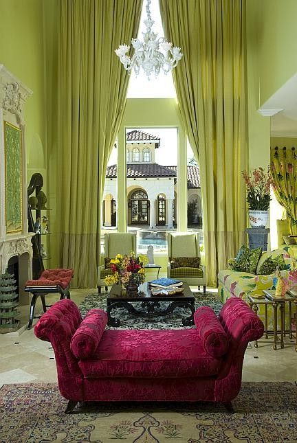 Youth Recliner with Eclectic Living Room Also Carpet Carved Coffee Table Chaise Lounge Drapes Fuschia Green Murano Chandelier
