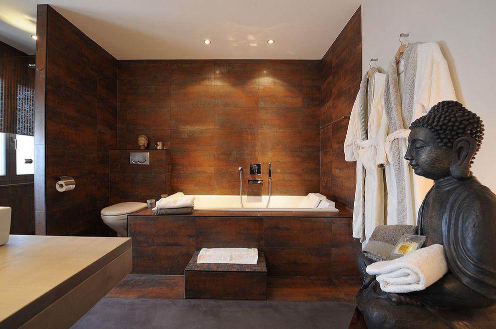 Zen Spa Quincy   Asian Bathroom Also Alcove Gray Floor Spa Statue Step Tile Wall Wall Hooks Window Window Shade Zen