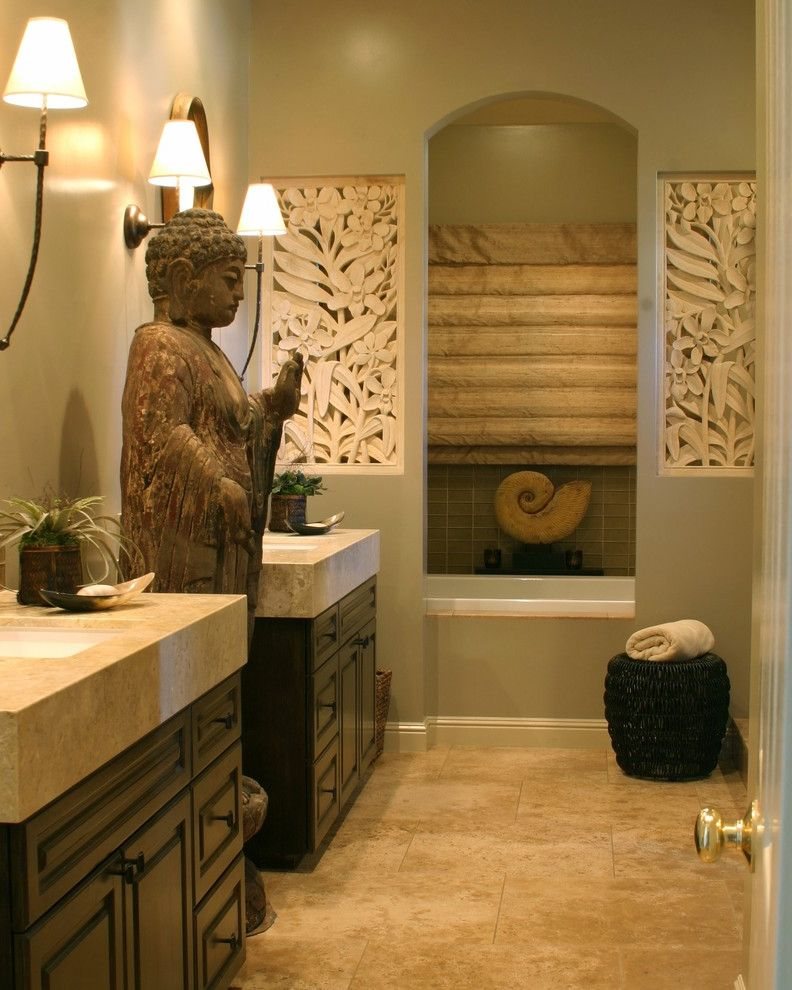 Zen Spa Quincy   Asian Bathroom  and Arch Asian Bathtub Buddha Double Sinks Double Vanities Hand Painted Cabinets Hidden Inlay Iron Wall Sconces Limestone Countertops Retreat Spa Statue Thick Counters Tranquil Tub Undermount Sinks Vintage Mirrors