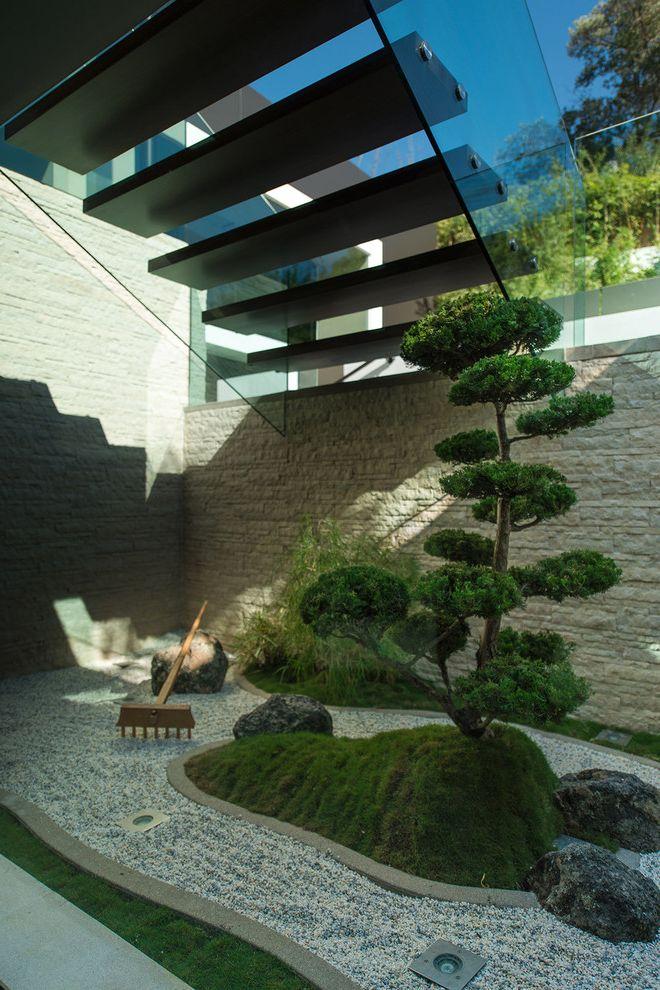 Zen Spa Quincy   Asian Landscape  and Bonsai Tree Floating Staircase Rake Rock Garden Zen