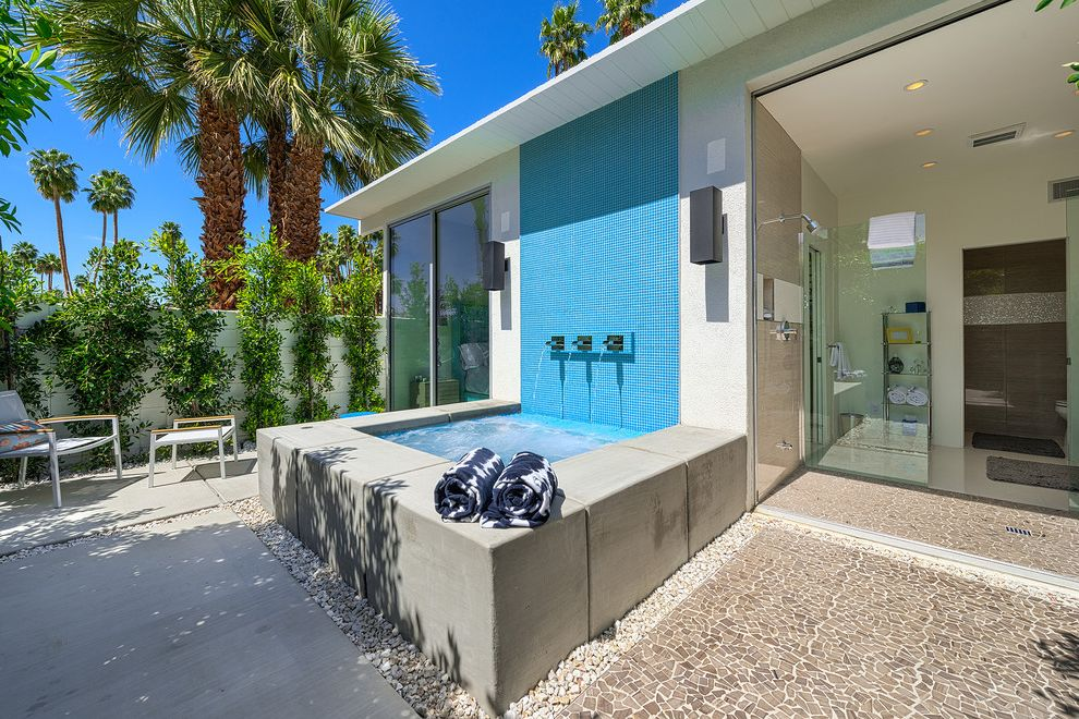 Zen Spa Quincy   Modern Patio  and Alexander Alexander House Blue Tile Gravel Mid Century Modern Outdoor Palm Springs Palm Trees Pavers Raised Spa Spa Water Feature