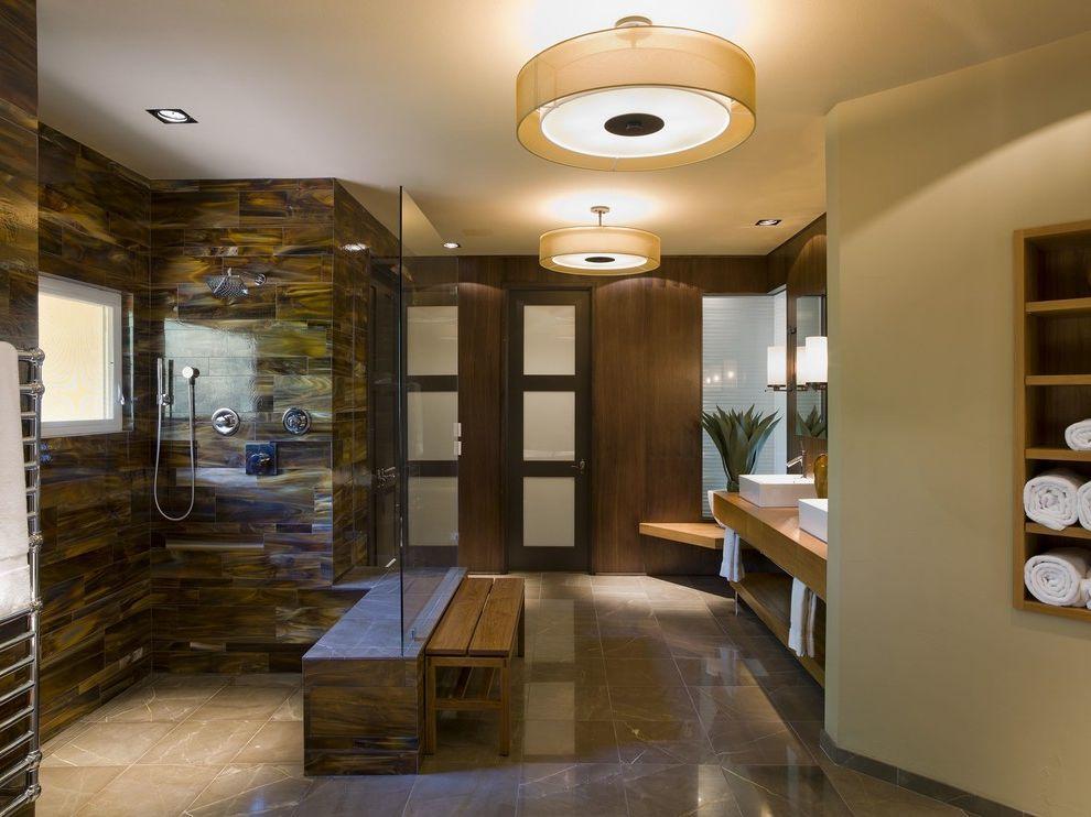 Zen Spa Quincy with Contemporary Bathroom Also Ceiling Lighting Floor Tile Modern Bath Fixtures Neutral Colors Recessed Lighting Sconce Shower Bench Shower Tile Shower Window Spa Towel Storage Wet Room Zen