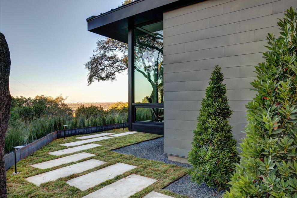 Zinc Siding   Contemporary Landscape Also Desert Landscape Flat Roof Glass Wall Gravel Border Gravel Edging Gray Siding Landscaping Large Overhang Metal Garden Border Pavers