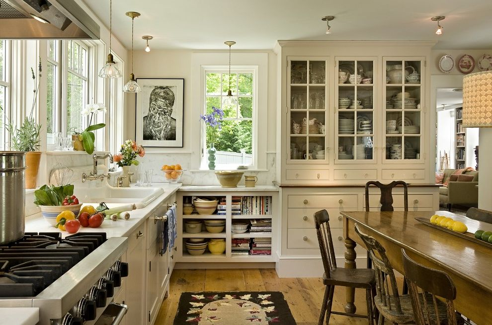 33 Inch Wide Refrigerator Bottom Freezer   Farmhouse Kitchen  and China Cabinet China on Display Contemporary Artwork Pendants Porcelain Sink Rustic Chairs Rustic Table Small Spotlights Stone Backslash Wood Floor Wooden Chairs Wooden Table