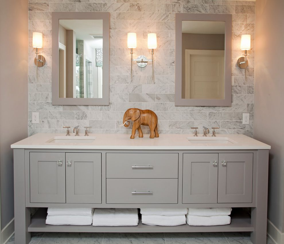 8x8 Bathroom Layout with Beach Style Bathroom Also Baseboards Bathroom Mirror Freestanding Vanity Gray Backsplash Gray Cabinets Gray Walls Open Shelves Sconce Subway Tile Backsplash Towel Storage Wall Lighting White Trim Wooden Elephant