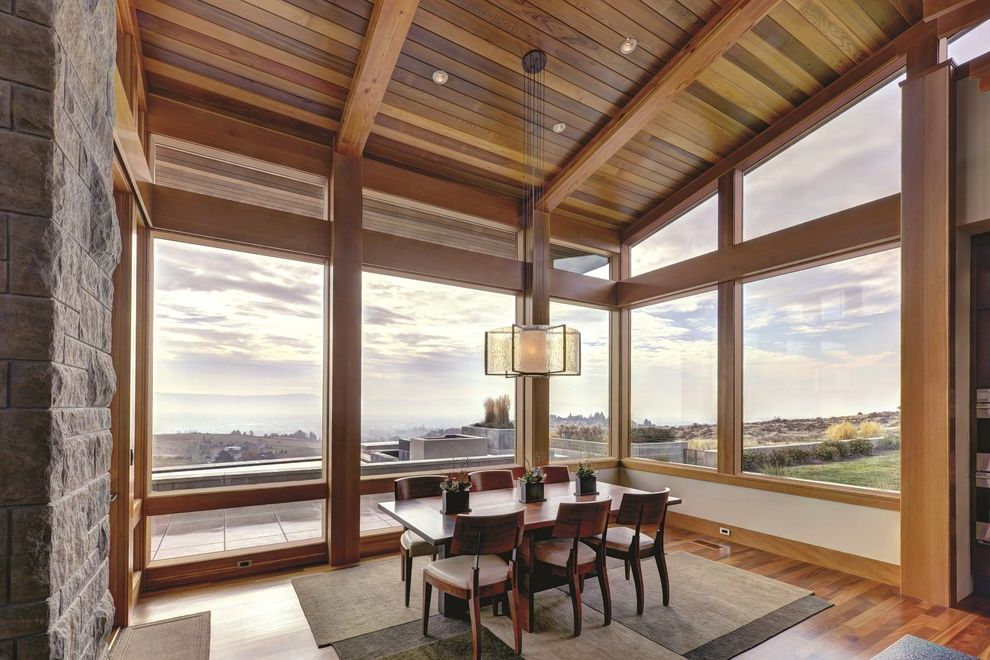 8x8 Bathroom Layout with Modern Dining Room  and Clerestory Windows Rustic Sloped Ceiling Stone Wall Sunroom Wall of Windows Wood Ceiling