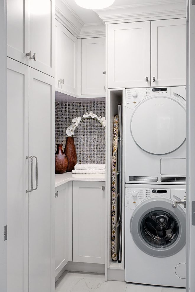 Able Iron Works   Traditional Laundry Room Also Ironing Board Ironing Board Storage Lots of Storage Mosaic Tile Organized Towels Vases
