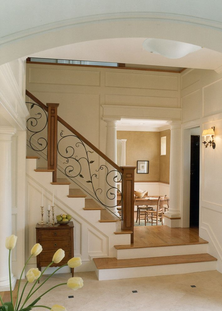 Able Iron Works with Traditional Staircase Also Columns Floor to Ceiling Wainscoting Lower Details