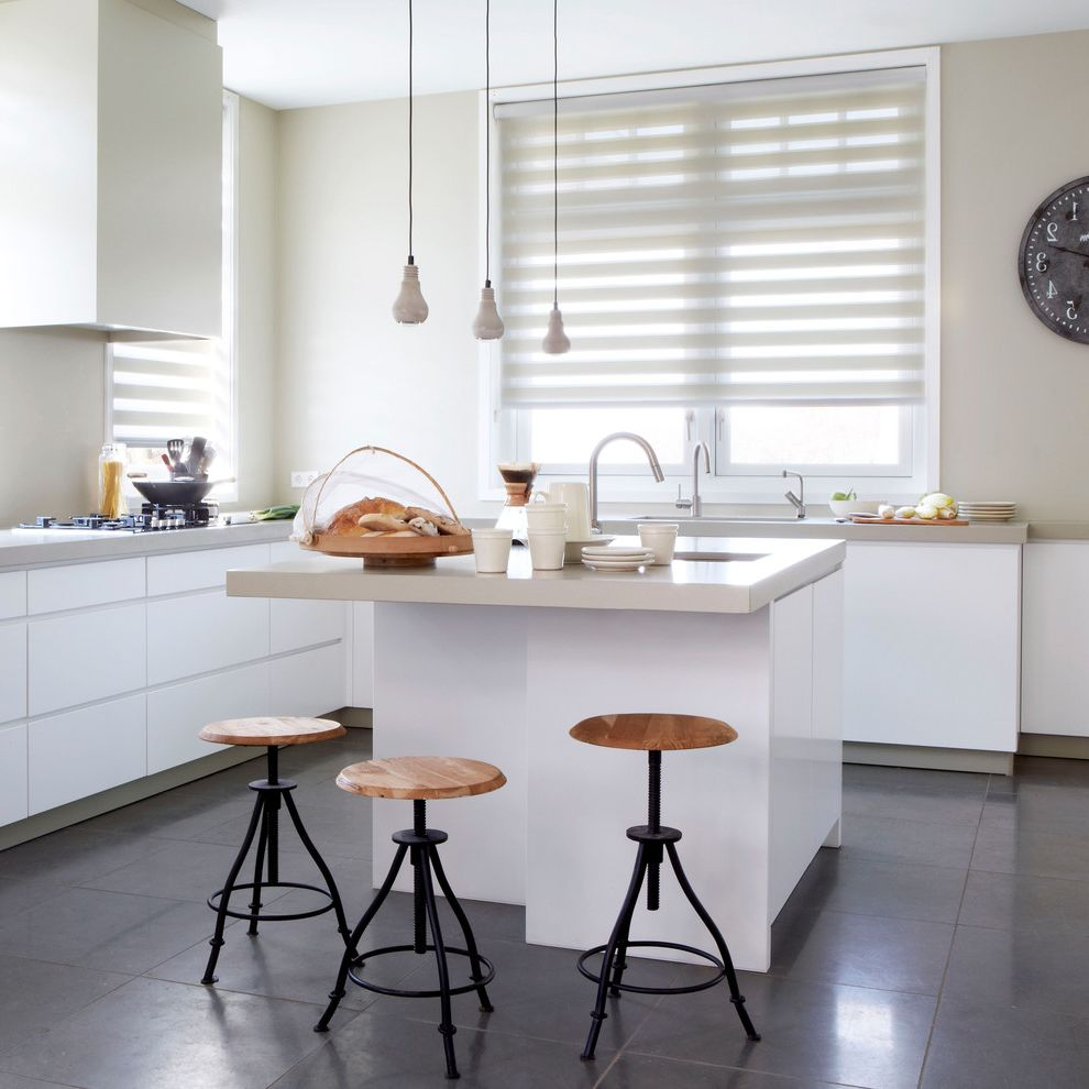 Advantagelumber Com   Contemporary Kitchen Also Beige Countertop Gray Floor Tile Pendant Lights Twist Stools White Cabinets