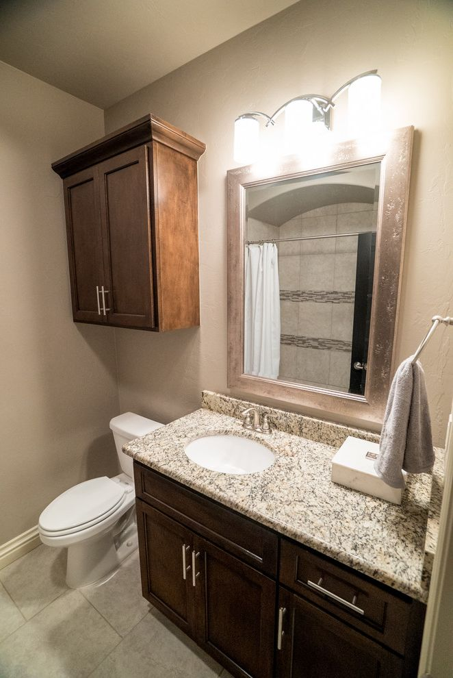 Allenstyle Homes   Modern Bathroom  and Guest Bathroom Silver Mirror Stained Cabinets