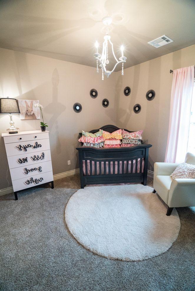 Allenstyle Homes   Modern Nursery  and Black Crib Circular Rug Decorative Dresser Modern Nursery Nursery Decor Nursery Furniture