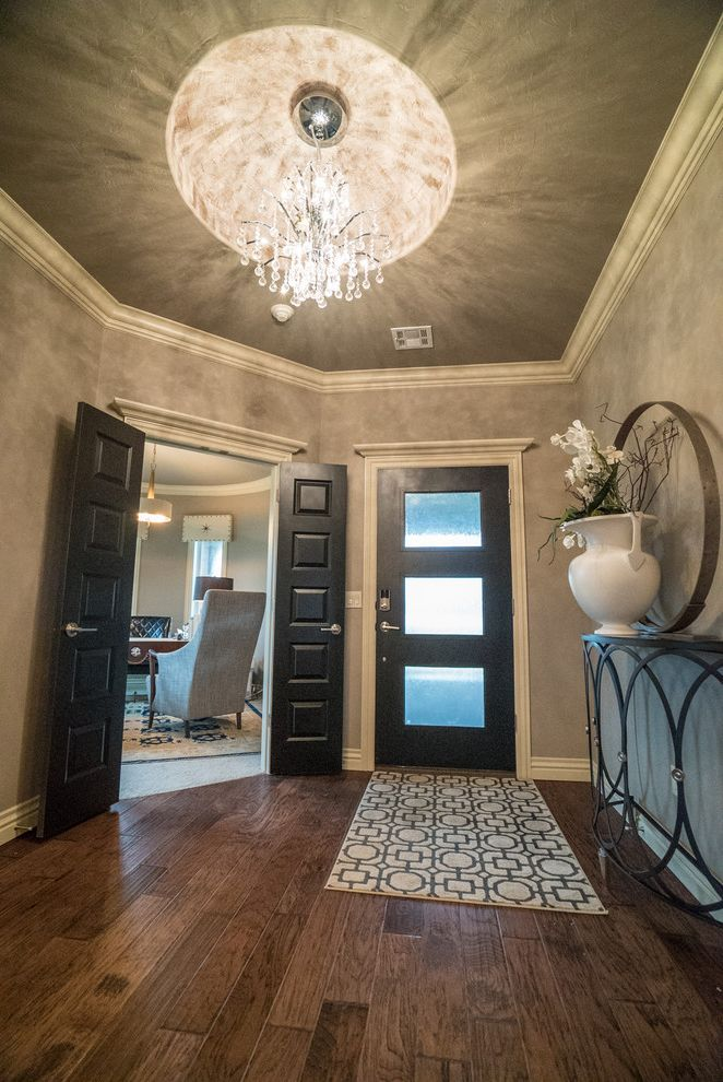 Allenstyle Homes with Modern Entry  and Black Door Dome Ceiling Double Doors Entryway Furniture Front Door Geometric Rug Hardwood Flooring Light Fixtures Modern Door White Trim White Vase