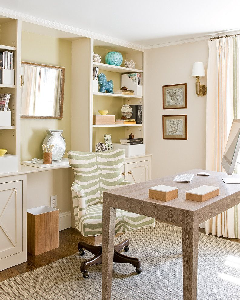 Alternative Office Chairs   Beach Style Home Office Also Artwork Bookcases Brown Built in Green Home Office Neutral Colors Sconce Task Chair Vintage Maps Wall Art Wall Decor Wall Lighting Wood Flooring Wrappped Desk Zebra