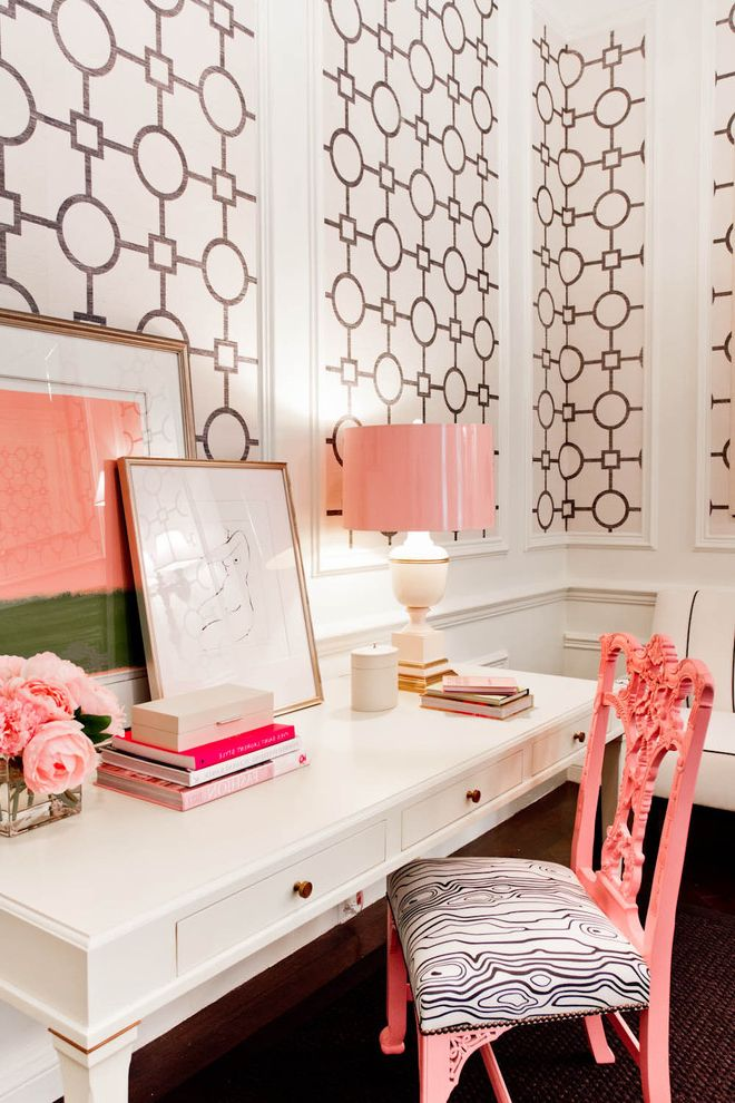 Alternative Office Chairs   Eclectic Home Office  and Black and White Desk Interior Wallpaper Pastels Pink Rug Table Lamp