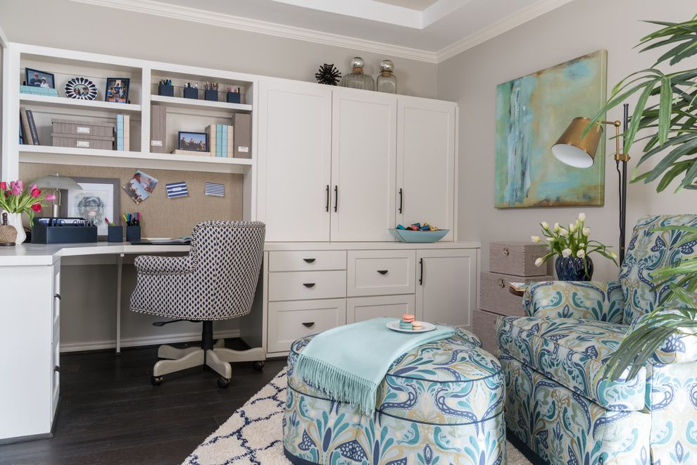 Alternative Office Chairs   Transitional Home Office Also Blue and White Blue Pattern Upholstered Armchair Brass Floor Lamp Built in Cabinetry Bulletin Board Corner Desk Matching Ottoman Upholstered Swivel Desk Chair