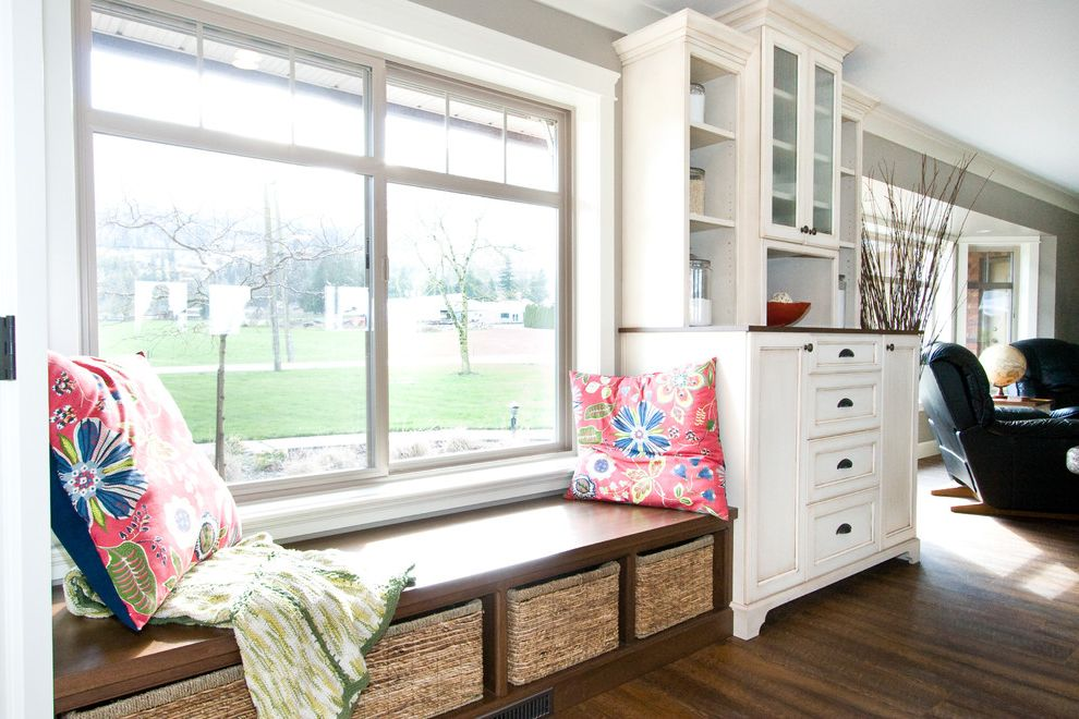 American Thermal Windows   Traditional Living Room  and American Walnut Stain Baskets Bench Built in Bench China Cabinet Cushions Drawers Glazed Gray Wall Hardwood Floor Hickory Hutch Leather Chair White Painted Cabinets Window Seat Windows Wood Bench