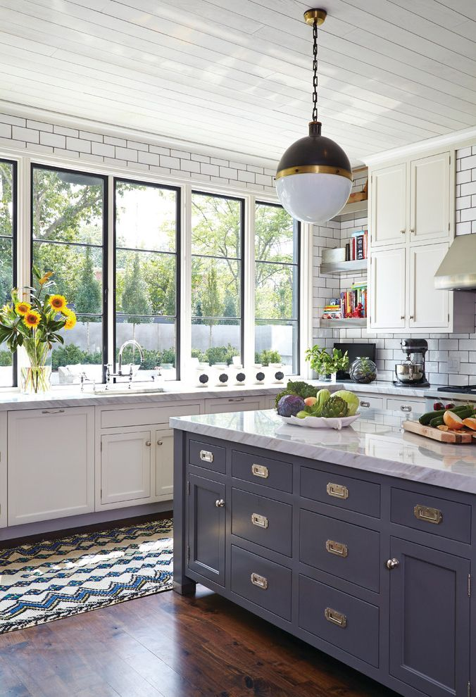 American Thermal Windows   Transitional Kitchen  and Carpet Runner Dark Grout Gray Kitchen Island Open Shelves Pendant Light Tongue and Groove Ceiling White Countertop