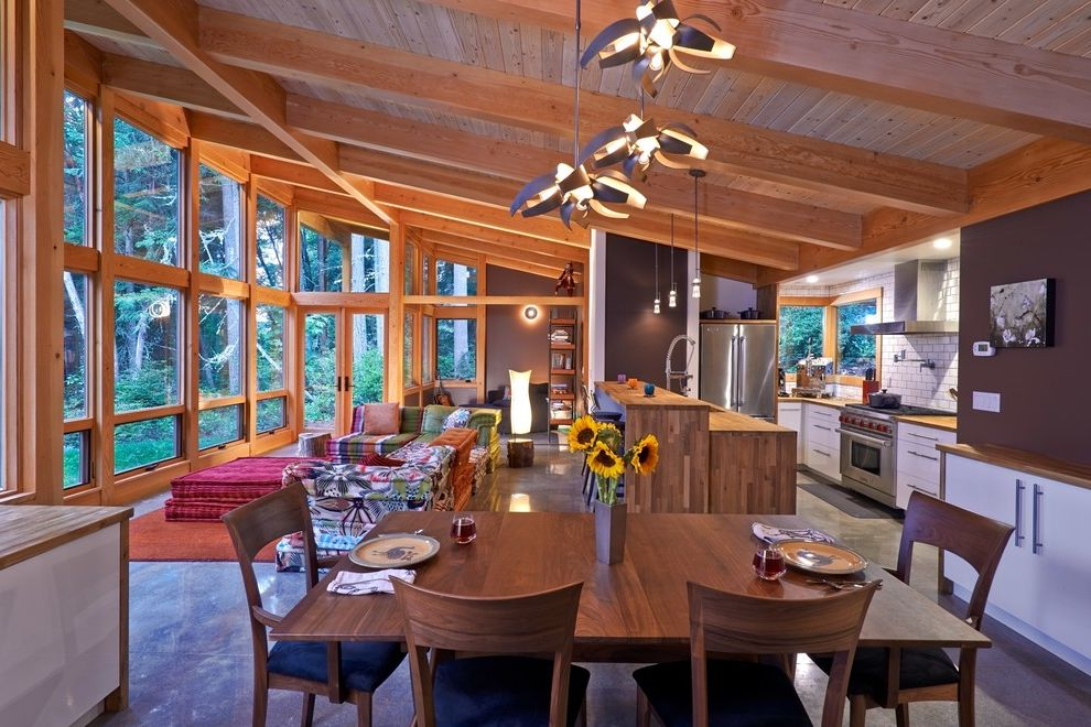 Amish Sheds Long Island   Rustic Dining Room Also Bright Colors Cabin Contemporary Lighting Exposed Beams Kitchen Island Natural Light Natural Wood Open Floor Plan Prefab Raked Ceiling Six Dining Chairs Timber Frame Tongue and Groove Ceiling
