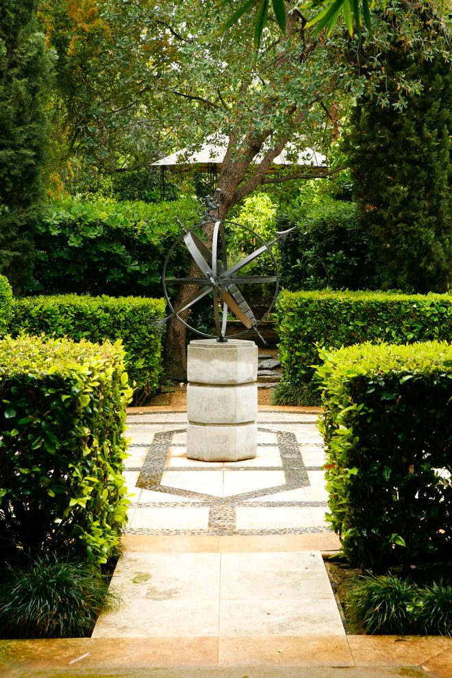 Animal Control Denver   Mediterranean Landscape Also Artwork Bold Clipped Hedges Courtyard Evergreen Hedge Italian Path Pathway Patio Pavers Paving Pebble Screen Sculpture Sphere Traditional