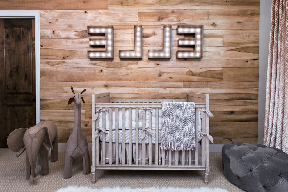 Animal Control Denver   Transitional Nursery Also Crib Letters on Wall Light Up Letters Stuffed Animals Tufted Ottoman Wood Panel Wall