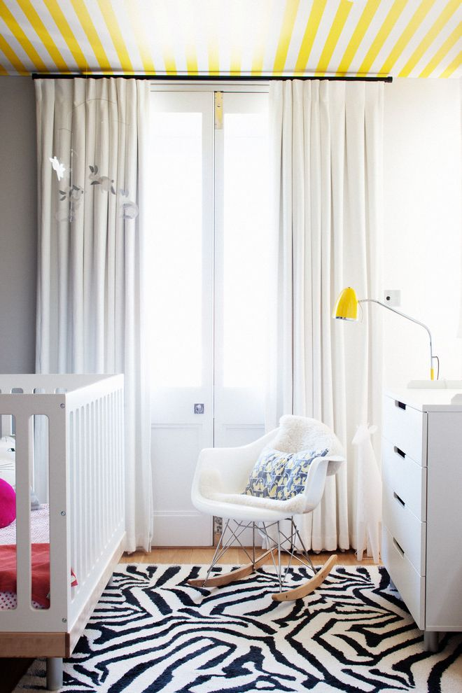 Animal Control Denver with Contemporary Nursery Also Bunny Mobile Ceiling Wallpaper Christian Lacroix Rug Wallpaper Ceiling White Crib Yellow and Gray Nursery Yellow and White Striped Ceiling Detail Zebra Rug