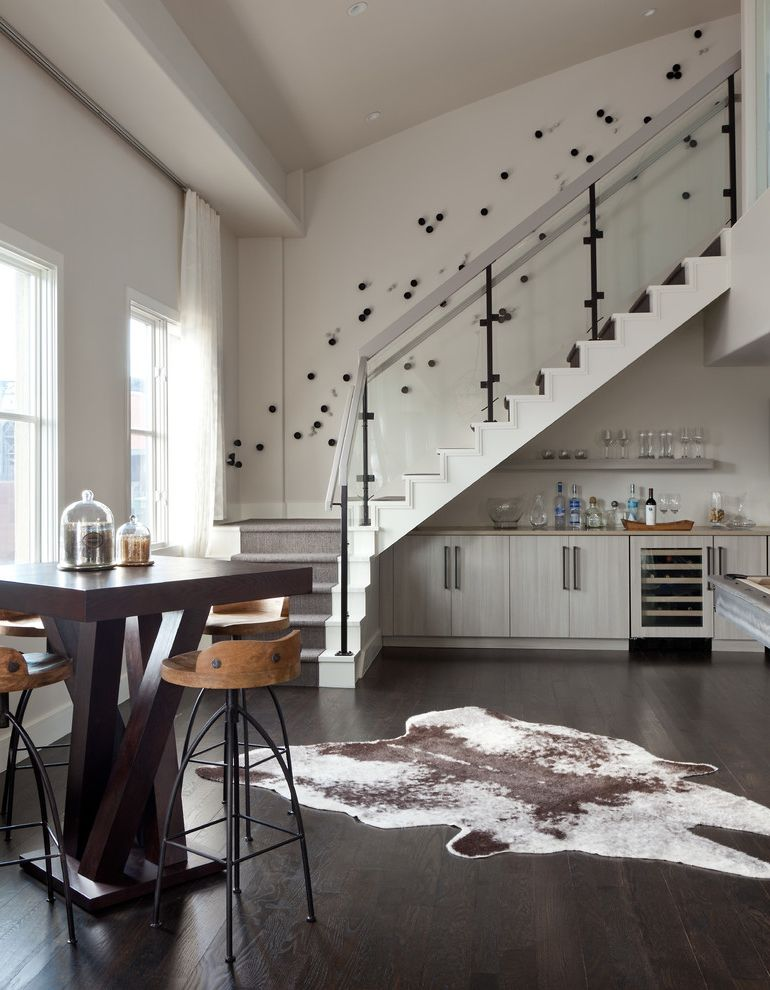 Animal Control Denver with Contemporary Staircase  and Airy Animal Skin Rug Denver Grey Neutrals Penthouse Scandanavian Transitional White
