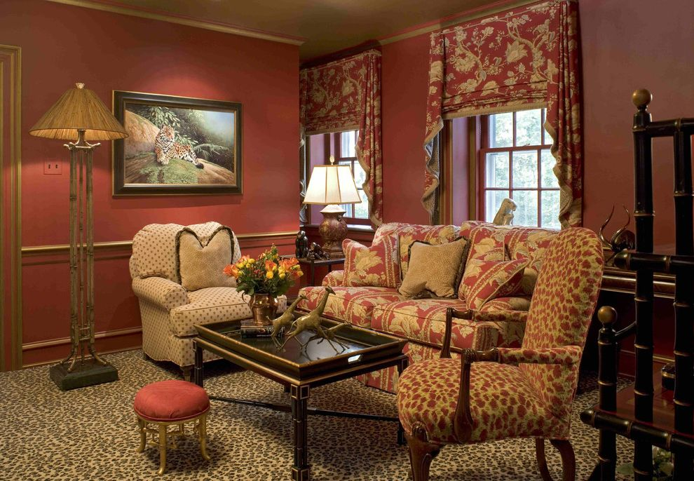 Animal Control Denver with Eclectic Family Room Also Bold Patterns Chair Rail Coffee Table Floor Lamp Floral Arrangement Footstool Leopard Print Leopard Print Carpet Red Walls Swag Valance Wainscoting Wall Art Wall Decor Window Treatments Wood Trim