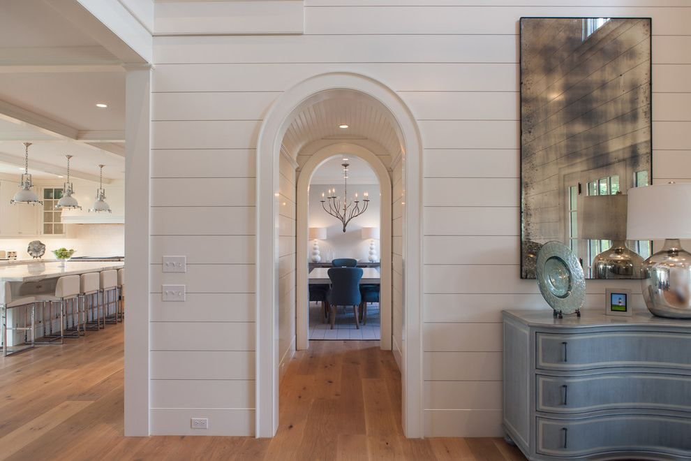 Arched Floor Mirror   Beach Style Entry  and Archway Beadboard Console Lamp Mirror Nantucket Style Shiplap White Paneling