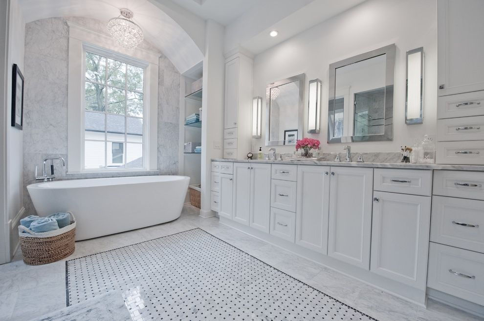 Arched Floor Mirror   Transitional Bathroom Also Barrel Vault Basketweave Floor Tile Chandelier Countertop Cabinets Double Vanity Framed Mirror Soffit White Countertop Widespread Faucet